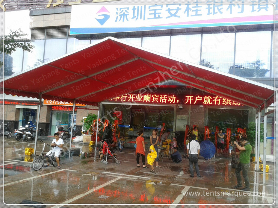 Red UV Resistant Portable Fabric Structures Waterproof Marquee Hire Rain Canopy